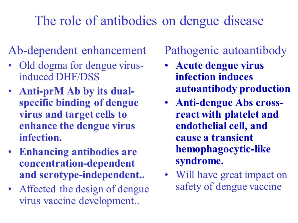 The role of antibodies on dengue disease Ab-dependent enhancement Old dogma for dengue virus- induced DHF/DSS Anti-prM Ab by its dual- specific bindin
