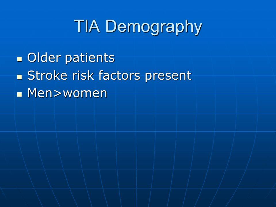TIA Demography Older patients Older patients Stroke risk factors present Stroke risk factors present Men>women Men>women