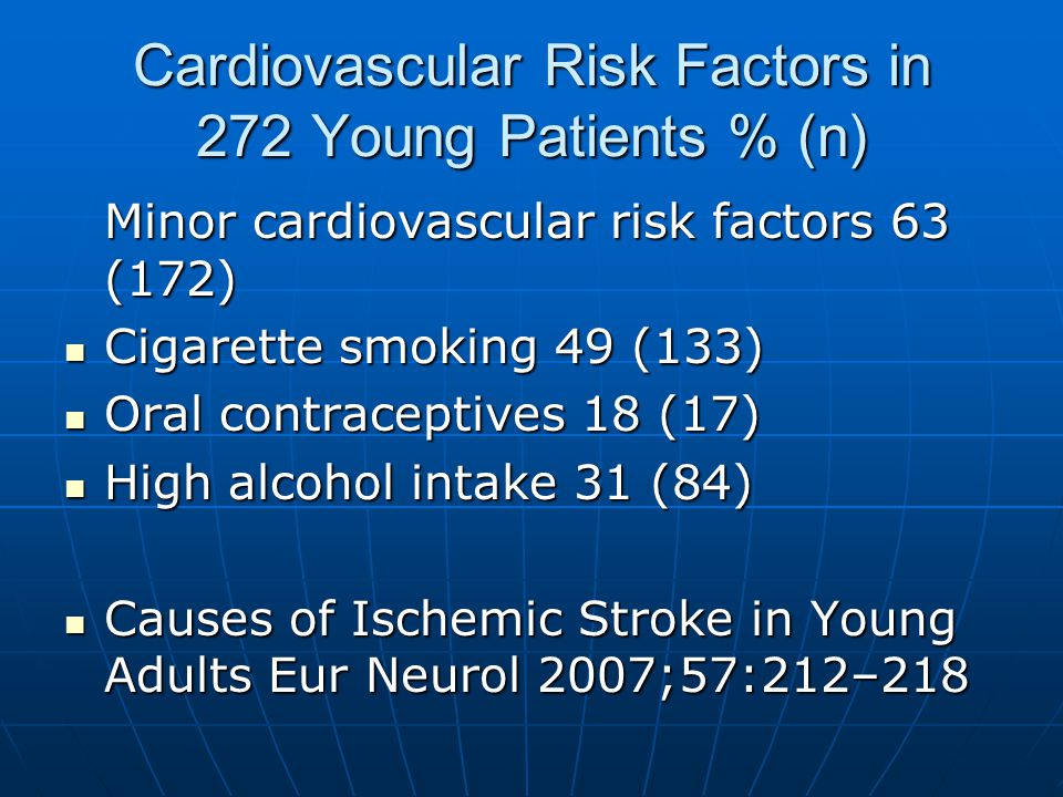 Cardiovascular Risk Factors in 272 Young Patients % (n) Minor cardiovascular risk factors 63 (172) Cigarette smoking 49 (133) Cigarette smoking 49 (133) Oral contraceptives 18 (17) Oral contraceptives 18 (17) High alcohol intake 31 (84) High alcohol intake 31 (84) Causes of Ischemic Stroke in Young Adults Eur Neurol 2007;57:212–218 Causes of Ischemic Stroke in Young Adults Eur Neurol 2007;57:212–218