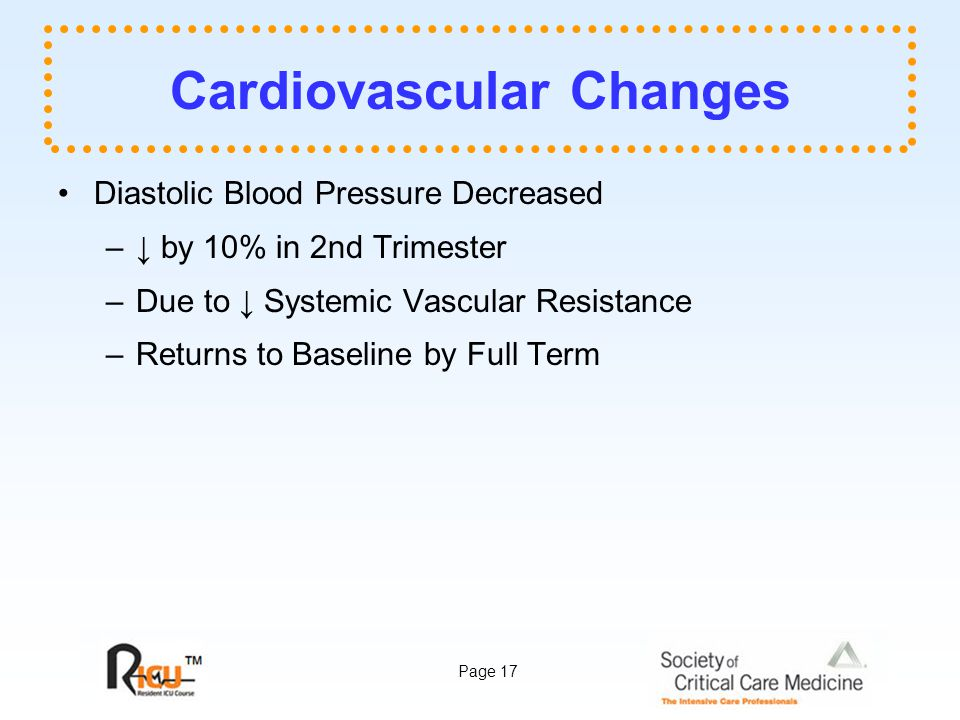 Page 17 Cardiovascular Changes Diastolic Blood Pressure Decreased –↓ by 10% in 2nd Trimester –Due to ↓ Systemic Vascular Resistance –Returns to Baseline by Full Term