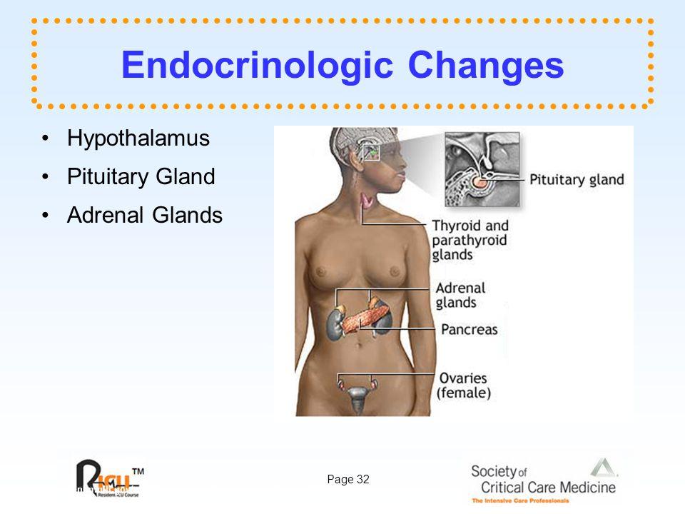 Page 32 Endocrinologic Changes Hypothalamus Pituitary Gland Adrenal Glands www.nlm.nih.gov/medlineplus/ency/images/ency/fullsize/1093.jpg