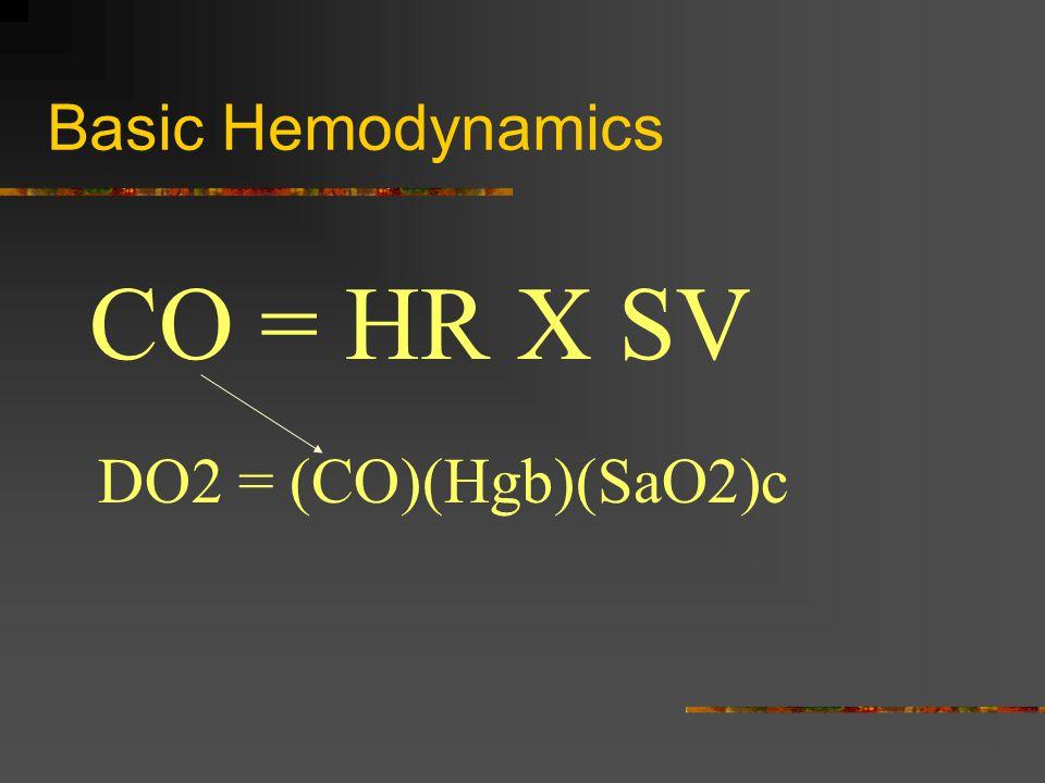 Basic Hemodynamics DO2 = (CO)(Hgb)(SaO2)c CO = HR X SV