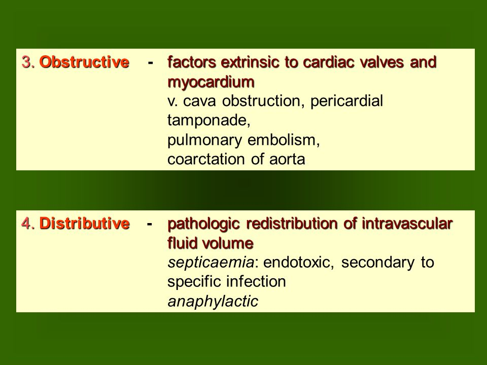 3.Obstructive factors extrinsic to cardiac valves and 3.
