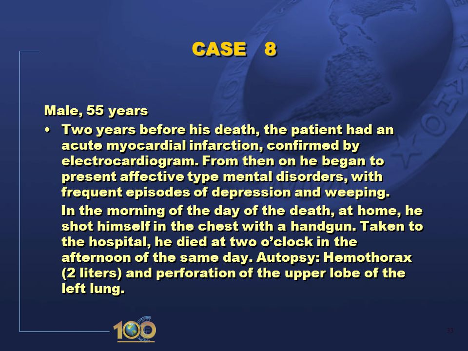 34 CASE 8 I a) Hemothorax hours b) Perforation of upper lobe of the left lung hours c) Suicide by handgun shot at home hours d) II Acute myocardial infarction 2 years Recurrent depressive disorders CASE 8 I a) Hemothorax hours b) Perforation of upper lobe of the left lung hours c) Suicide by handgun shot at home hours d) II Acute myocardial infarction 2 years Recurrent depressive disorders