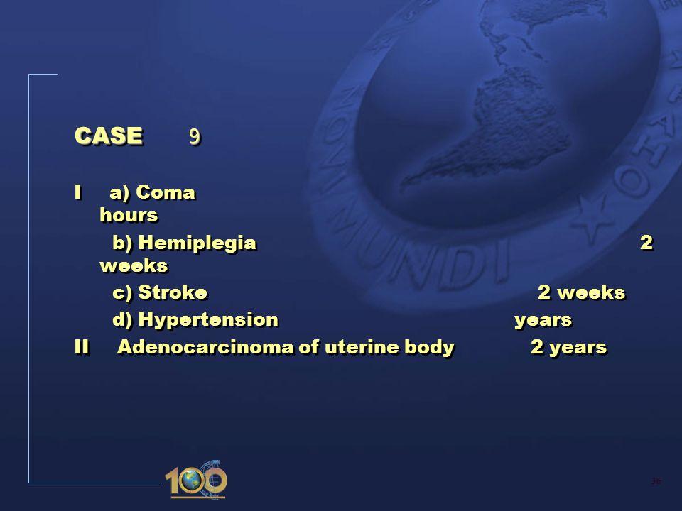36 CASE 9 I a) Coma hours b) Hemiplegia 2 weeks c) Stroke 2 weeks d) Hypertension years II Adenocarcinoma of uterine body 2 years