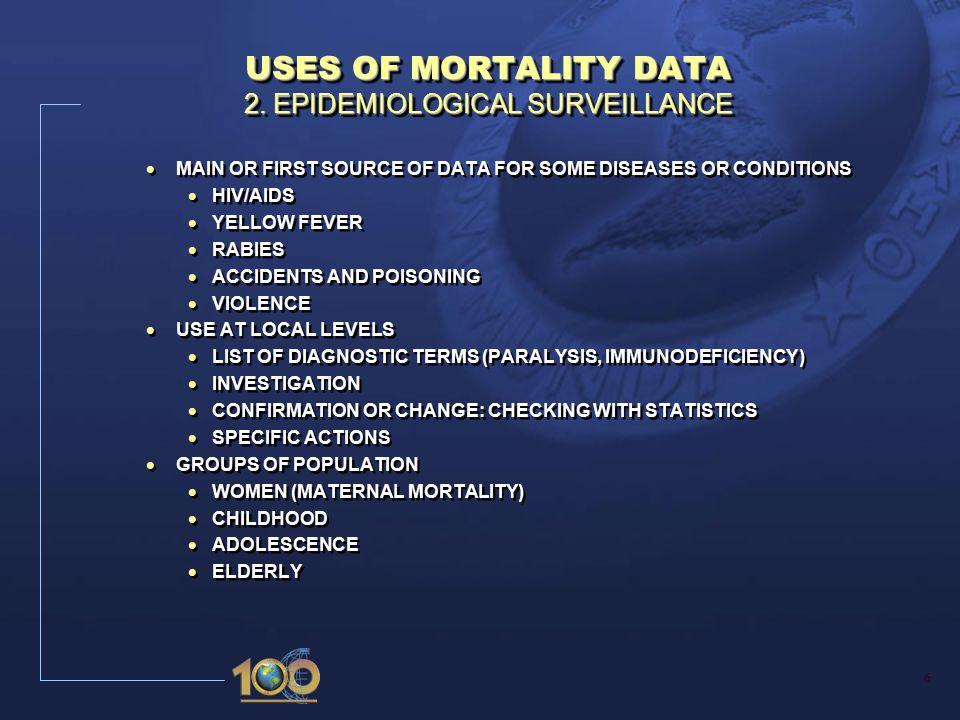 6 USES OF MORTALITY DATA 2.