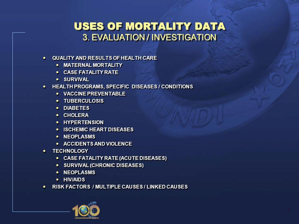 7 USES OF MORTALITY DATA 3.
