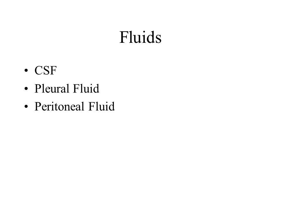 Fluids CSF Pleural Fluid Peritoneal Fluid