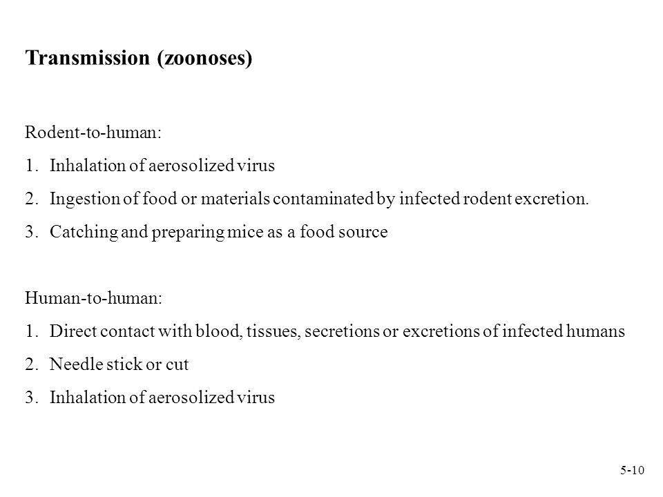 Transmission (zoonoses) Rodent-to-human: 1.Inhalation of aerosolized virus 2.Ingestion of food or materials contaminated by infected rodent excretion.