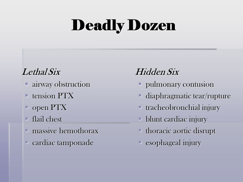 Deadly Dozen Lethal Six  airway obstruction  tension PTX  open PTX  flail chest  massive hemothorax  cardiac tamponade Hidden Six  pulmonary co