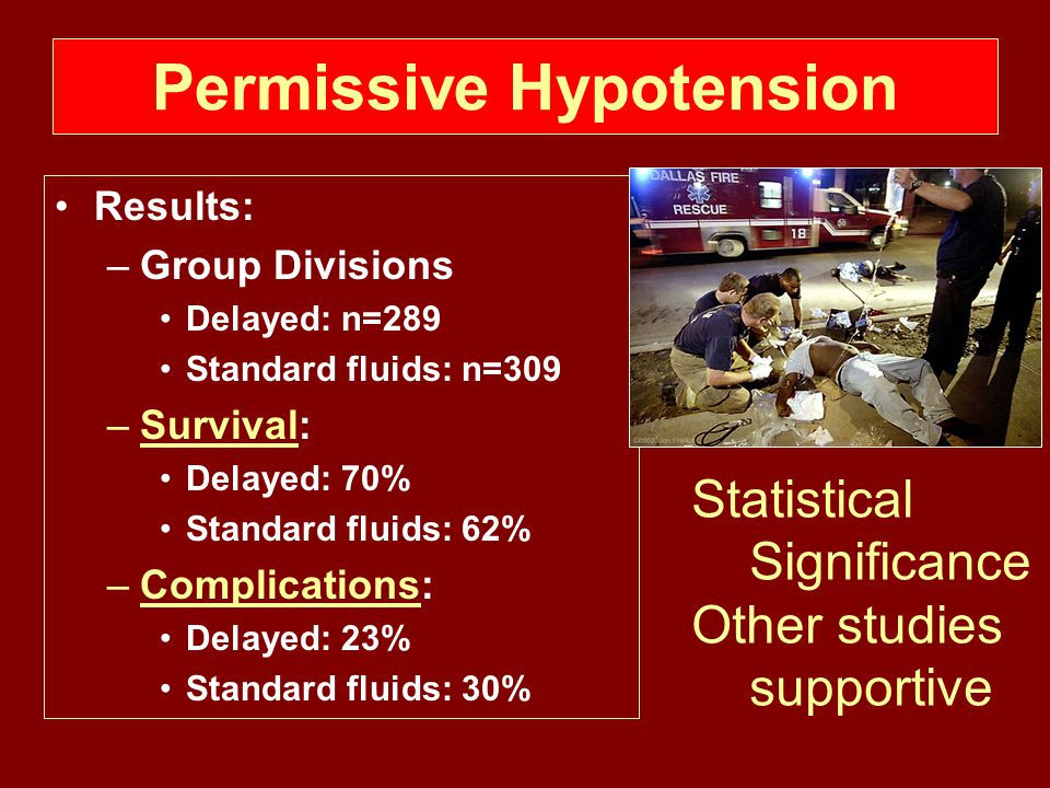 Permissive Hypotension Results: –Group Divisions Delayed: n=289 Standard fluids: n=309 –Survival: Delayed: 70% Standard fluids: 62% –Complications: Delayed: 23% Standard fluids: 30% Statistical Significance Other studies supportive
