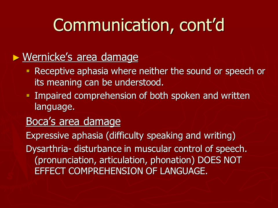 Communication, cont'd ► Wernicke's area damage  Receptive aphasia where neither the sound or speech or its meaning can be understood.