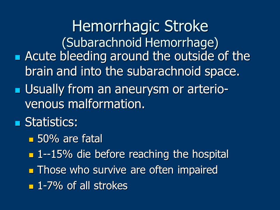 Hemorrhagic Stroke (Subarachnoid Hemorrhage) Acute bleeding around the outside of the brain and into the subarachnoid space. Acute bleeding around the