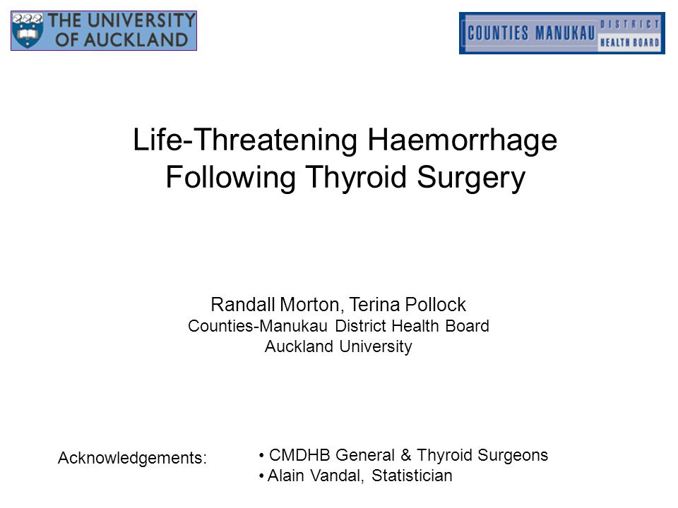 Life-Threatening Haemorrhage Following Thyroid Surgery Randall Morton, Terina Pollock Counties-Manukau District Health Board Auckland University CMDHB General & Thyroid Surgeons Alain Vandal, Statistician Acknowledgements: