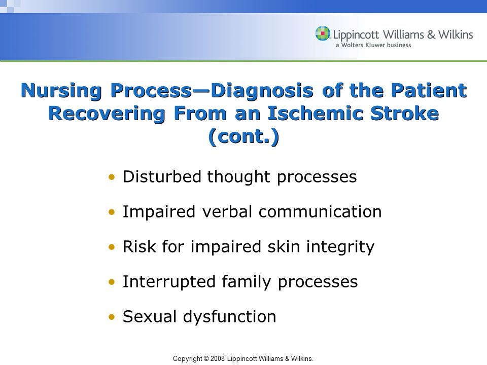 Copyright © 2008 Lippincott Williams & Wilkins. Nursing Process—Diagnosis of the Patient Recovering From an Ischemic Stroke (cont.) Disturbed thought