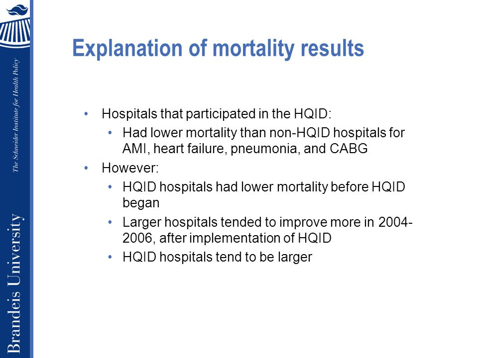 Explanation of mortality results Hospitals that participated in the HQID: Had lower mortality than non-HQID hospitals for AMI, heart failure, pneumonia, and CABG However: HQID hospitals had lower mortality before HQID began Larger hospitals tended to improve more in 2004- 2006, after implementation of HQID HQID hospitals tend to be larger