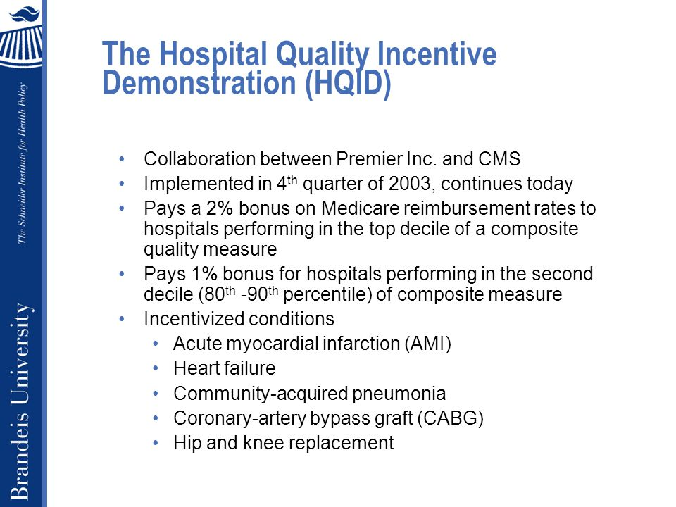 The Hospital Quality Incentive Demonstration (HQID) Collaboration between Premier Inc.