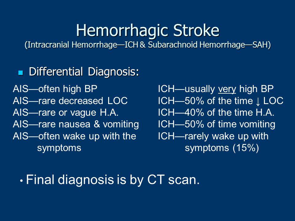 Hemorrhagic Stroke (Intracranial Hemorrhage—ICH & Subarachnoid Hemorrhage—SAH) Differential Diagnosis: Differential Diagnosis: AIS—often high BP AIS—r