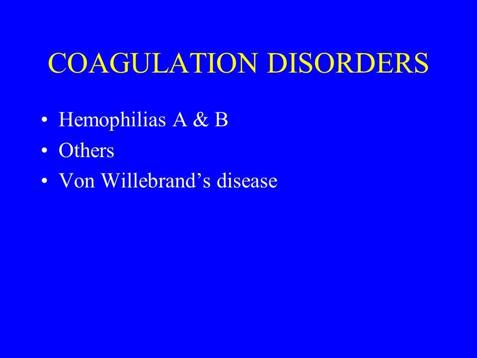 COAGULATION DISORDERS Hemophilias A & B Others Von Willebrand's disease