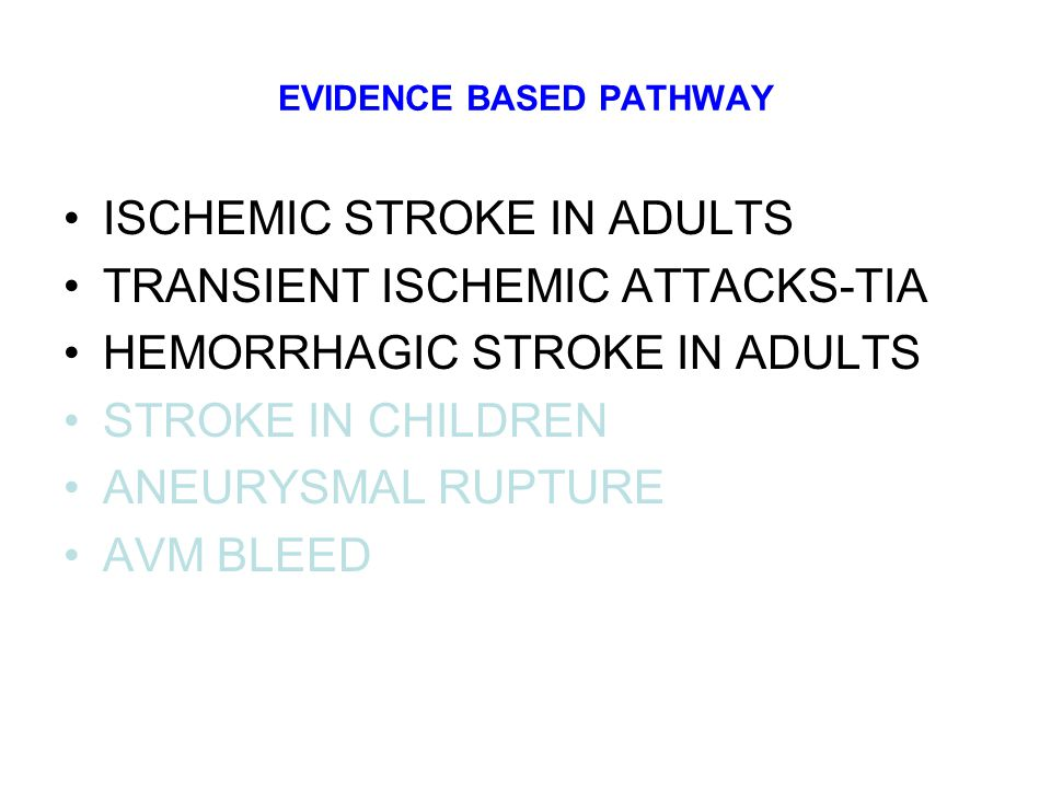 ACUTE CARE PATHWAY STROKE UNIT Organised inpatient (stroke unit) care for stroke The Cochrane Database of Systematic Reviews Organised inpatient (stroke unit) care for stroke: Organised stroke unit care is a form of care provided in hospital by nurses, doctors and therapists who specialise in looking after stroke patients and work as a co-ordinated team.