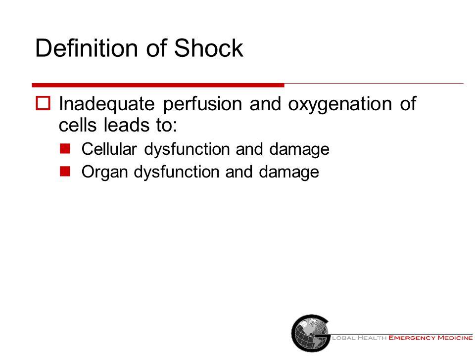 Hypovolemic Shock: Pathophysiology  Heart pumps well, but not enough blood volume to pump MAP = CO x SVR HR x Stroke volume