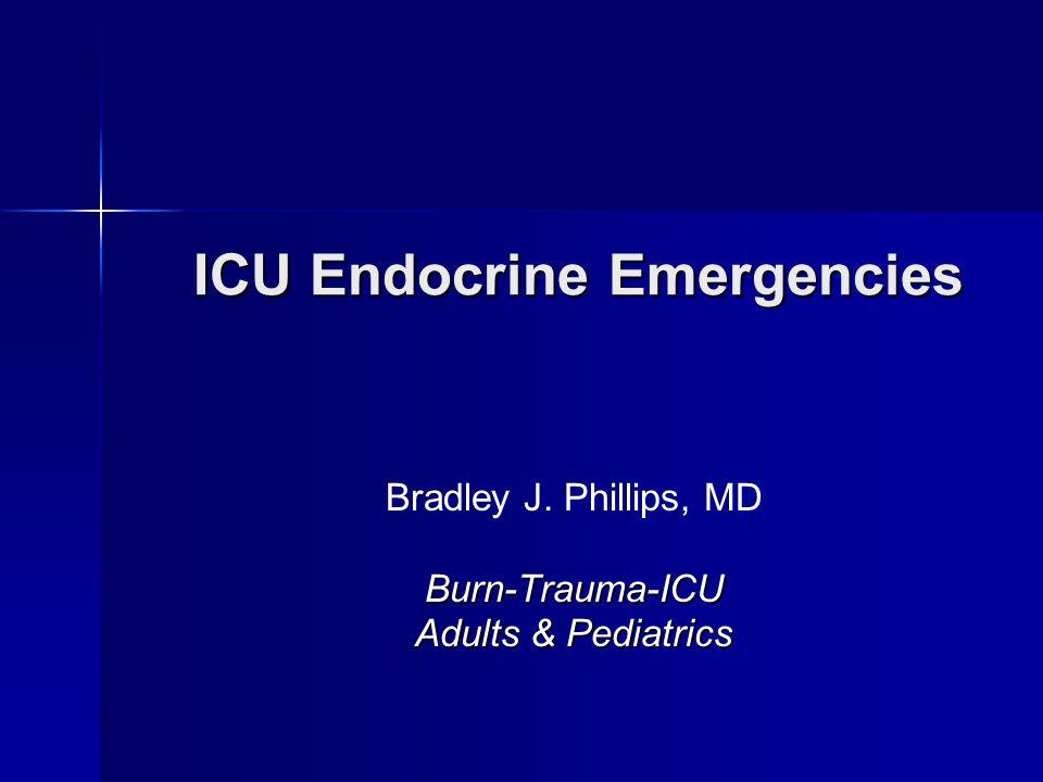Adrenal Insufficiency Incidence Incidence –General population40-60/million –ICU1-20% SICU0.66% SICU0.66% –SICU trauma0.23% –SICU nontrauma0.98% SICU SICU –> 14 days6% –age > 551.7% –> 14 days and age > 5511% –Blunt adrenal injury5%