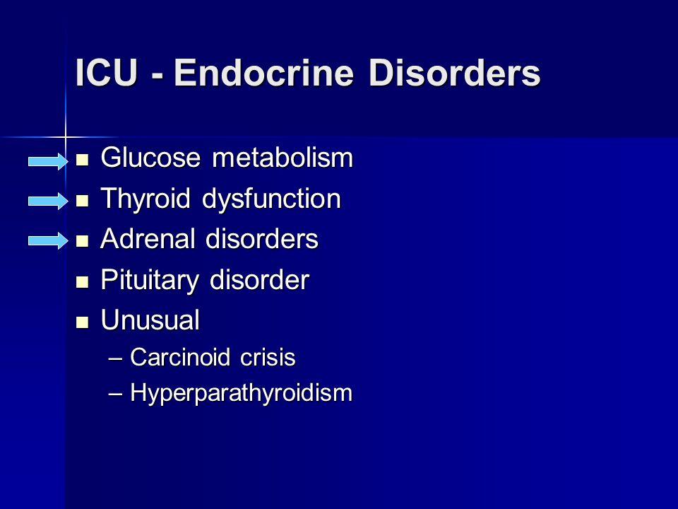 ICU - Thyroid Dysfunction Hypothyroidism Hypothyroidism Myxedema coma Myxedema coma Thyrotoxicosis Thyrotoxicosis –Thyrotoxic crisis