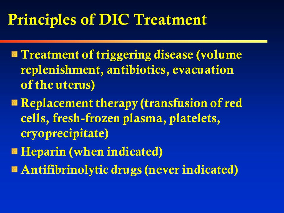 Laboratory Diagnosis of DIC Prolongation of PT, PTT, TT Decrease in fibrinogen Elevation of FDP, D-dimer Thrombocytopenia Microangiopathic hemolytic a