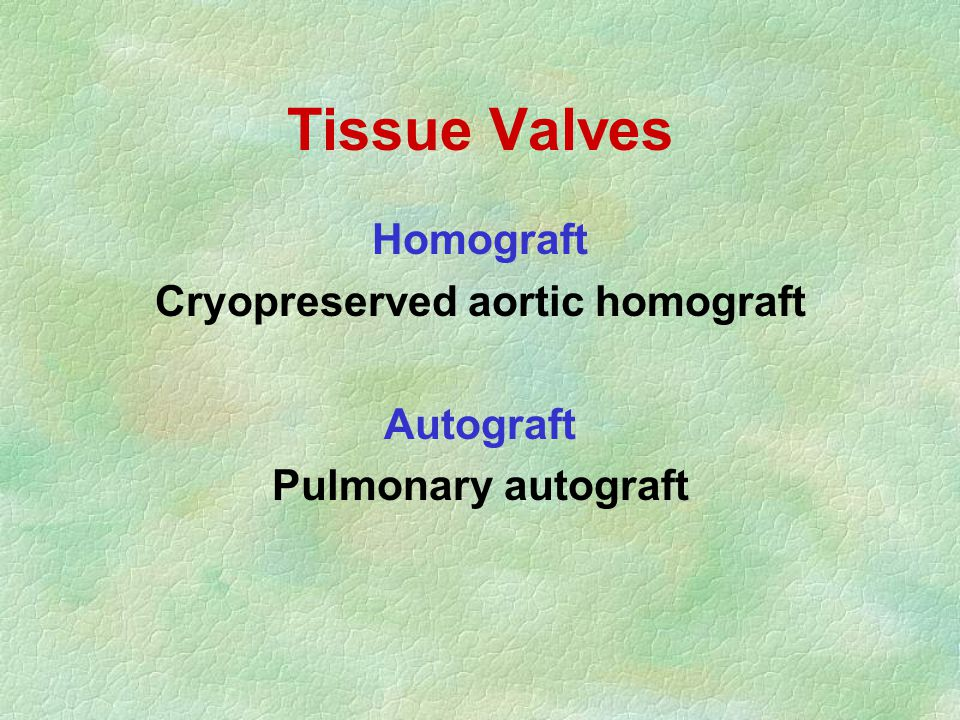 Tissue Valves Homograft Cryopreserved aortic homograft Autograft Pulmonary autograft