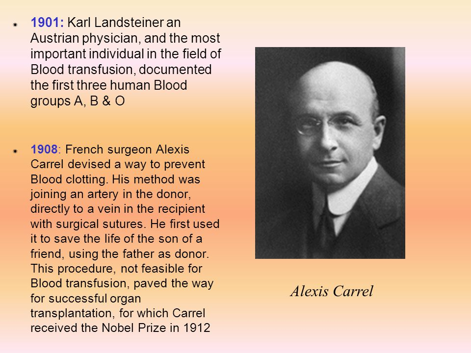 Z 1901: Karl Landsteiner an Austrian physician, and the most important individual in the field of Blood transfusion, documented the first three human