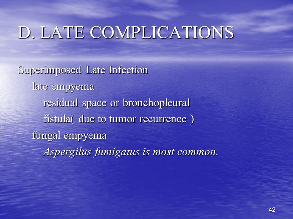 41 D. LATE COMPLICATIONS Postpneumonectomy Syndrome Left( right ) Postpneumonectomy Syndrome: Left( right ) Postpneumonectomy Syndrome: 1. (counter)cl