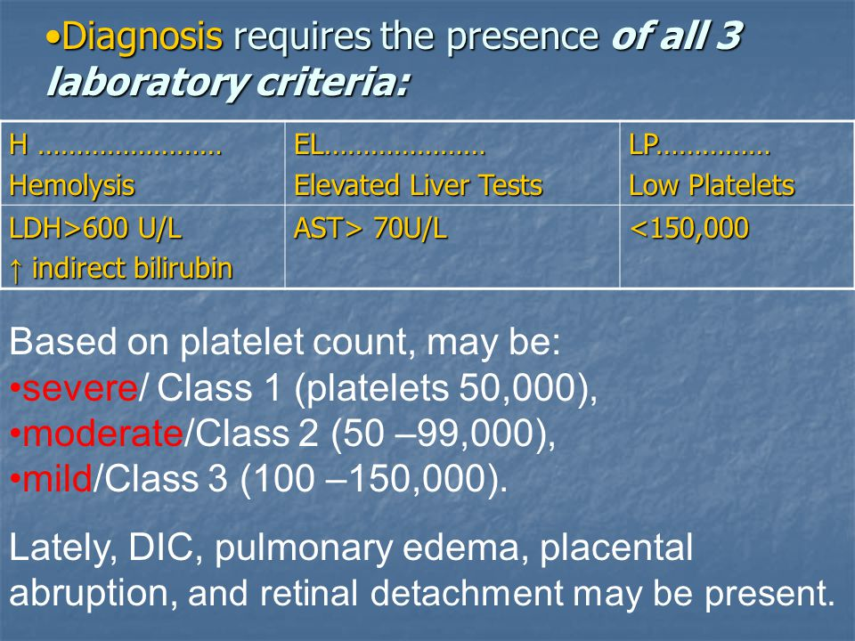 Diagnosis requires the presence of all 3 laboratory criteria:Diagnosis requires the presence of all 3 laboratory criteria: Based on platelet count, ma