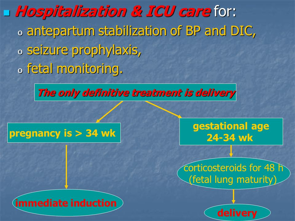 Hospitalization & ICU care for: Hospitalization & ICU care for: o antepartum stabilization of BP and DIC, o seizure prophylaxis, o fetal monitoring. p