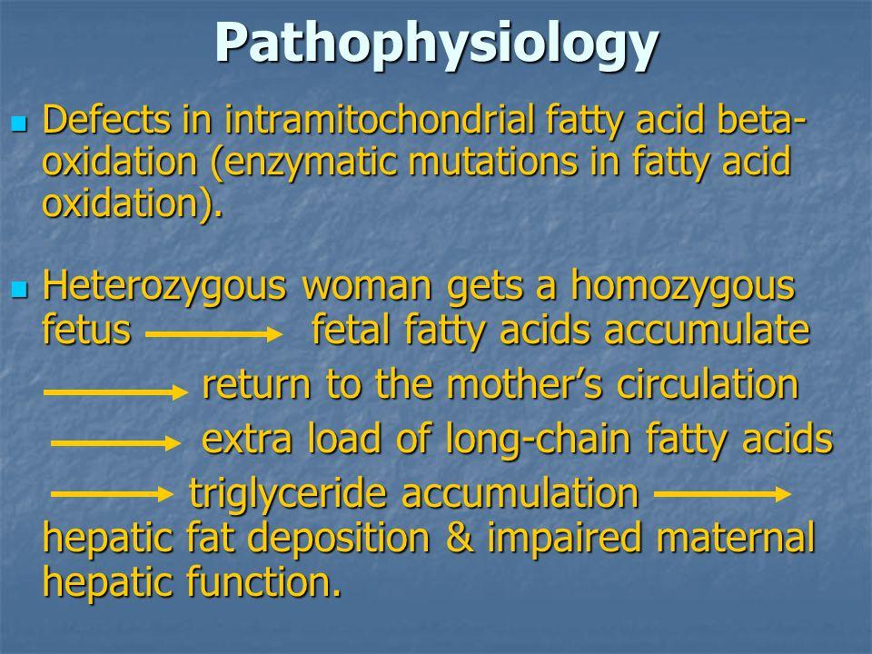 Pathophysiology Defects in intramitochondrial fatty acid beta- oxidation (enzymatic mutations in fatty acid oxidation). Defects in intramitochondrial