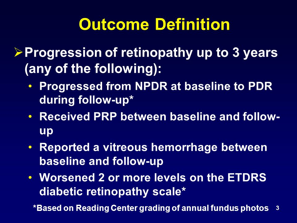 Retinopathy Progression During 1 Year of Follow-up 14 Sham N = 293 Ranibizumab N = 375 Triamcinolone N = 186 Reported vitreous hemorrhage OR received PRP 8%3% P Value for comparison with sham --0.0020.02