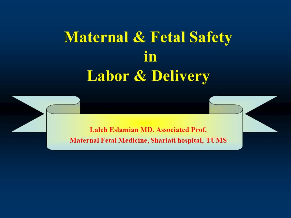 Maternal & Fetal Safety in Labor & Delivery Laleh Eslamian MD.