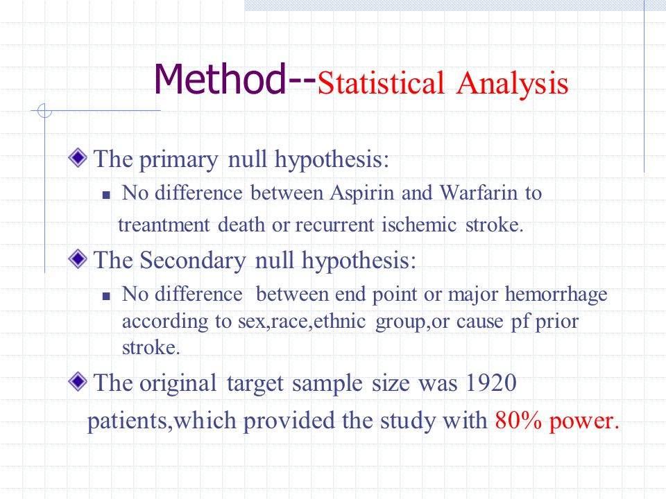 Method-- Statistical Analysis The primary null hypothesis: No difference between Aspirin and Warfarin to treantment death or recurrent ischemic stroke.