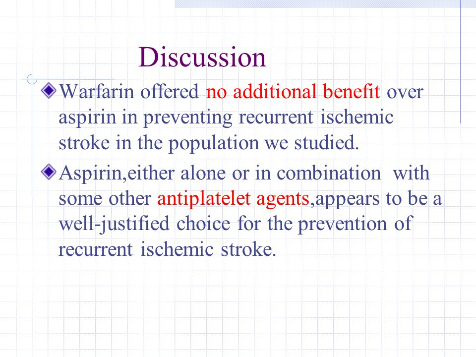 Discussion Warfarin offered no additional benefit over aspirin in preventing recurrent ischemic stroke in the population we studied.