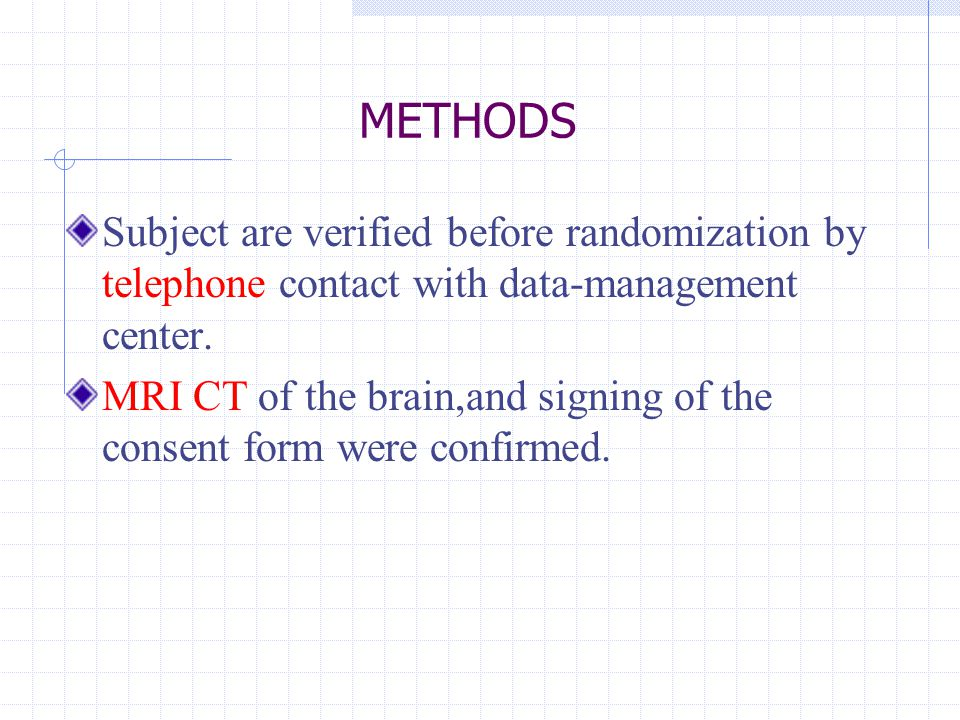 METHODS Subject are verified before randomization by telephone contact with data-management center.