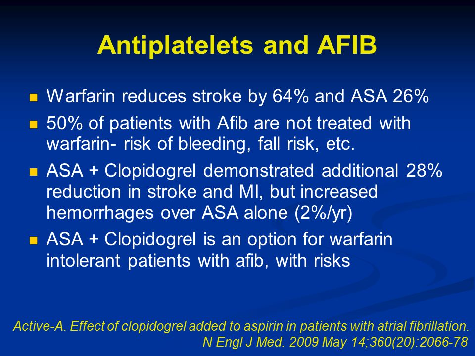 Antiplatelets and AFIB Warfarin reduces stroke by 64% and ASA 26% 50% of patients with Afib are not treated with warfarin- risk of bleeding, fall risk, etc.