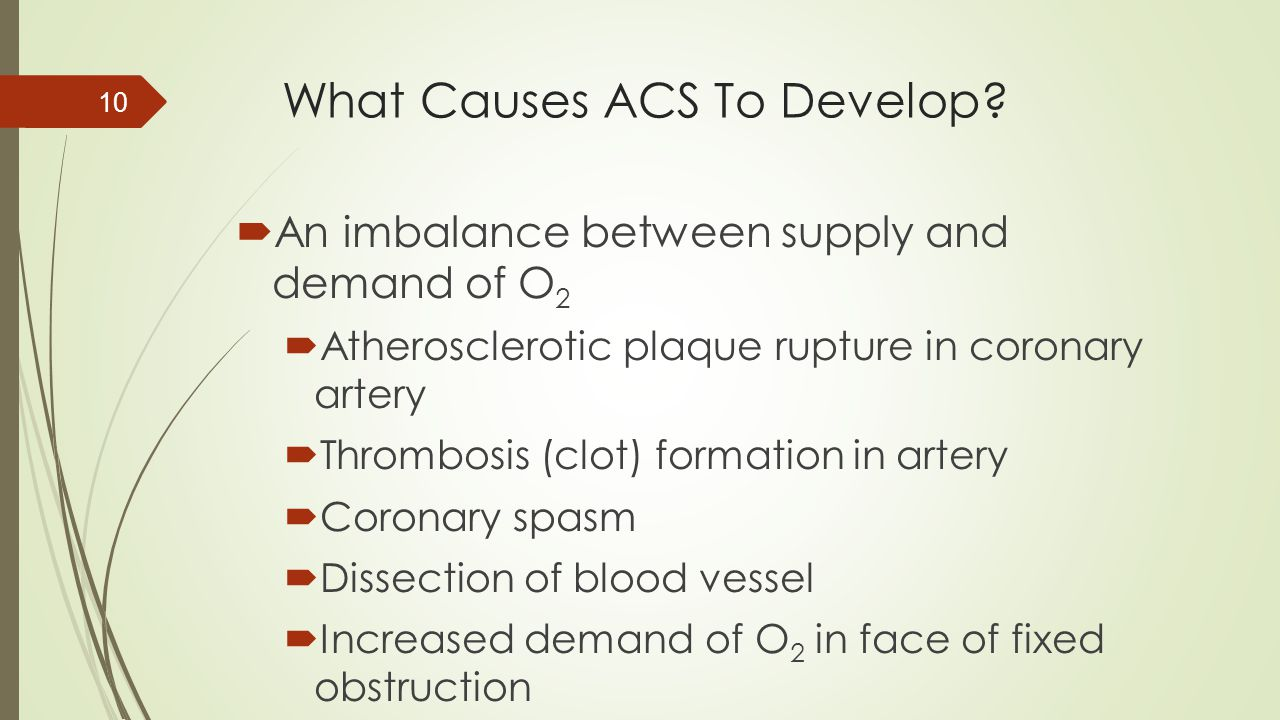 What Causes ACS To Develop?  An imbalance between supply and demand of O 2  Atherosclerotic plaque rupture in coronary artery  Thrombosis (clot) fo