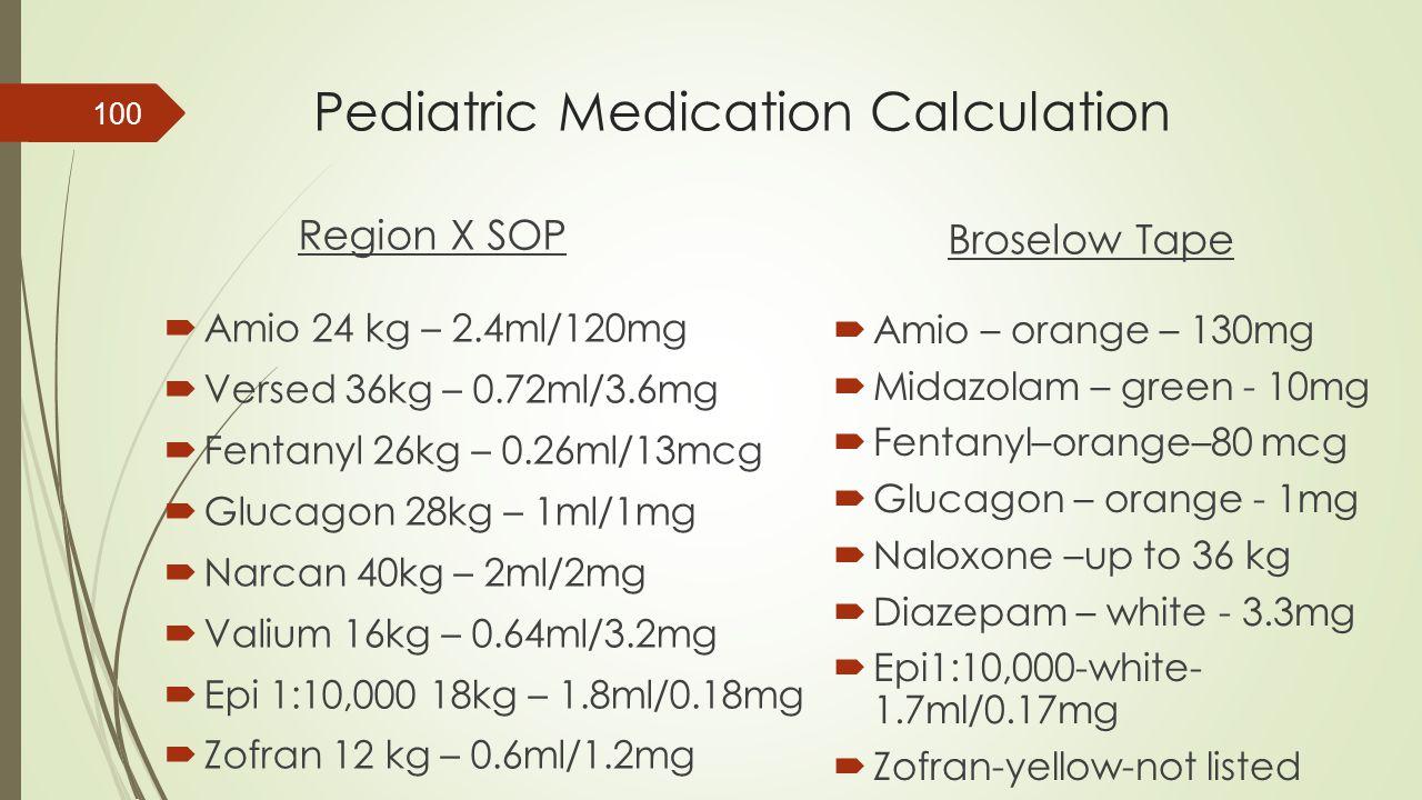 Pediatric Medication Calculation Region X SOP  Amio 24 kg – 2.4ml/120mg  Versed 36kg – 0.72ml/3.6mg  Fentanyl 26kg – 0.26ml/13mcg  Glucagon 28kg –
