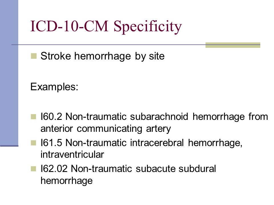 ICD-10-CM Specificity Stroke hemorrhage by site Examples: I60.2 Non-traumatic subarachnoid hemorrhage from anterior communicating artery I61.5 Non-traumatic intracerebral hemorrhage, intraventricular I62.02 Non-traumatic subacute subdural hemorrhage