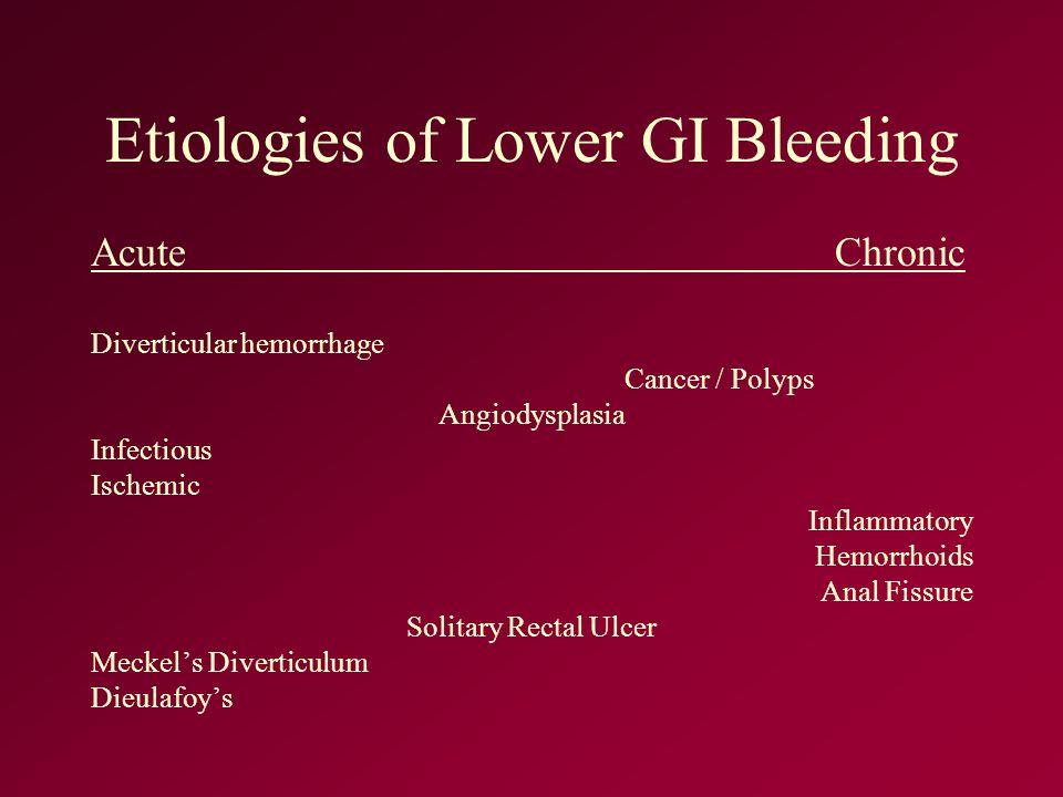 Etiologies of Lower GI Bleeding Acute Chronic Diverticular hemorrhage Cancer / Polyps Angiodysplasia Infectious Ischemic Inflammatory Hemorrhoids Anal