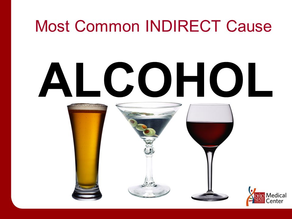 Most Common INDIRECT Cause ALCOHOL