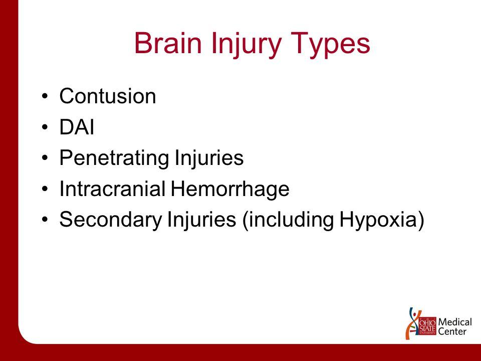 Brain Injury Types Contusion DAI Penetrating Injuries Intracranial Hemorrhage Secondary Injuries (including Hypoxia)