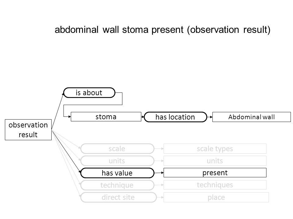 observation result scale scale types has value present units technique techniques direct site place abdominal wall stoma present (observation result)