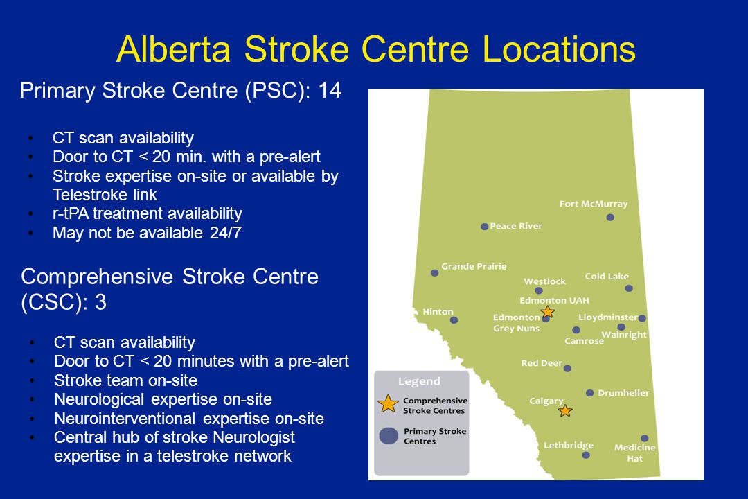 Alberta Stroke Centre Locations Primary Stroke Centre (PSC): 14 CT scan availability Door to CT < 20 min.