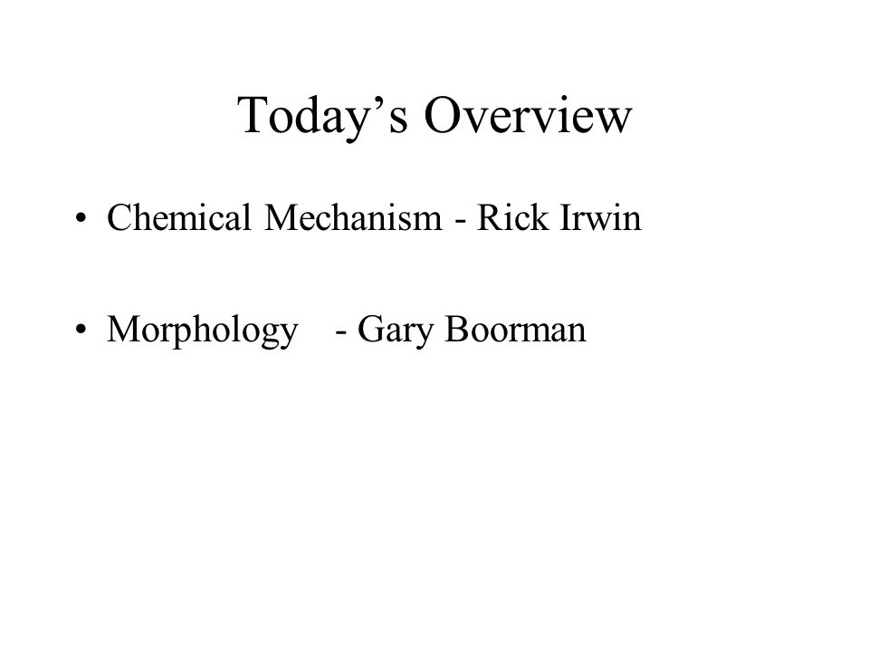 Today's Overview Chemical Mechanism - Rick Irwin Morphology - Gary Boorman