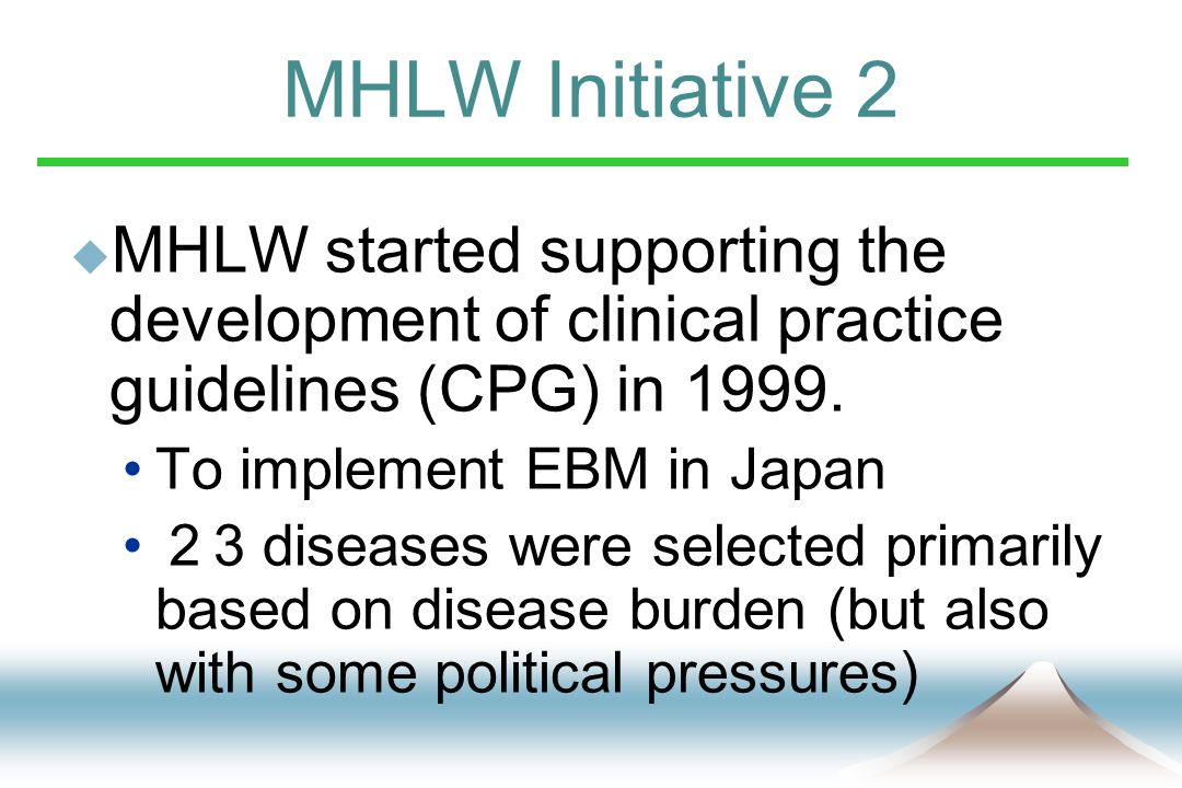 MHLW Initiative 2  MHLW started supporting the development of clinical practice guidelines (CPG) in 1999.
